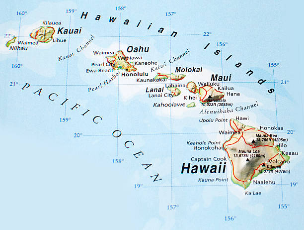 Map of Hawaiian Islands map of hawaiian islands big island hawaii islands stock pictures, royalty-free photos & images
