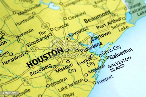 Map Of Houston Texas State In Usa Stock Photo IStock - Texas usa map