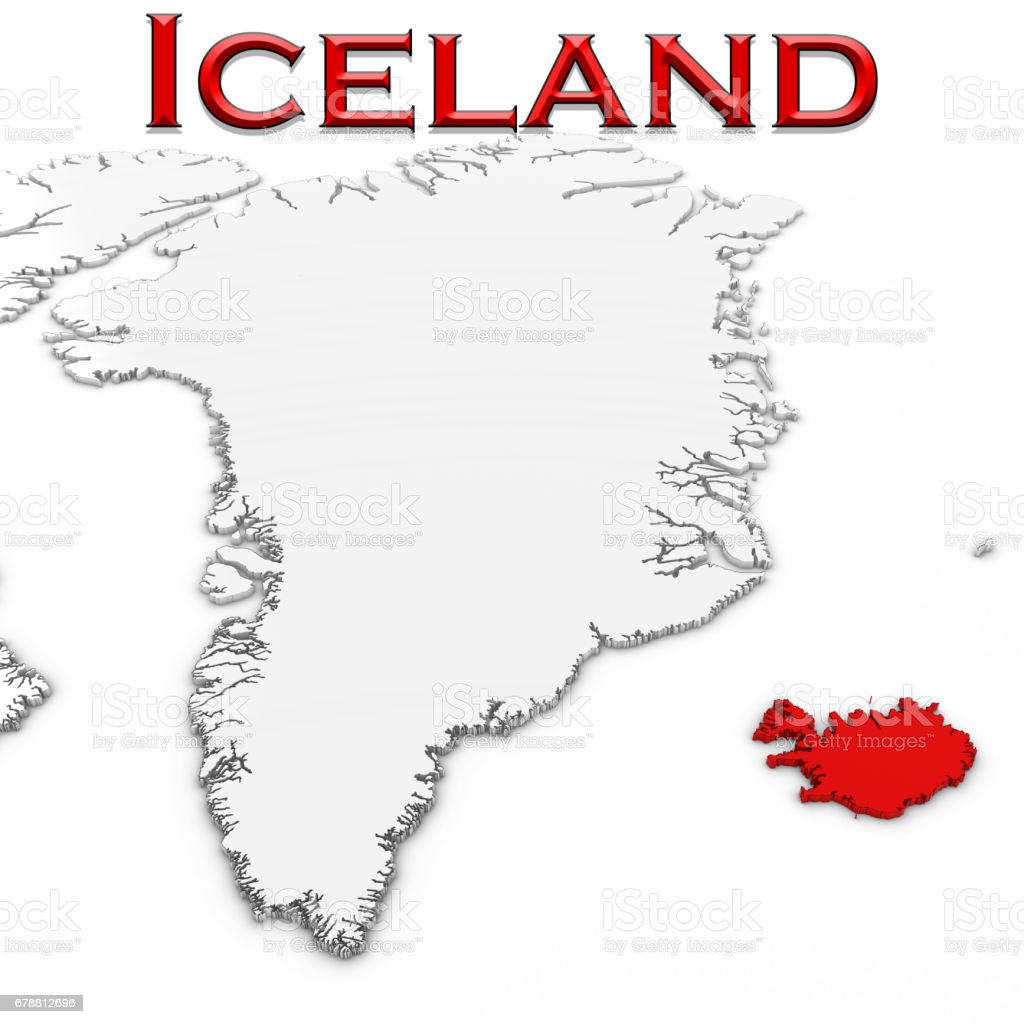 3d map of iceland with country name highlighted red on white 3d map of iceland with country name highlighted red on white background 3d illustration royalty gumiabroncs Choice Image