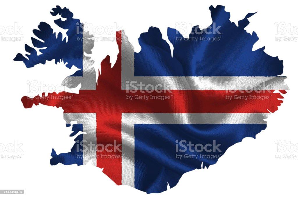 Mapa da Islândia, com a bandeira nacional - foto de acervo