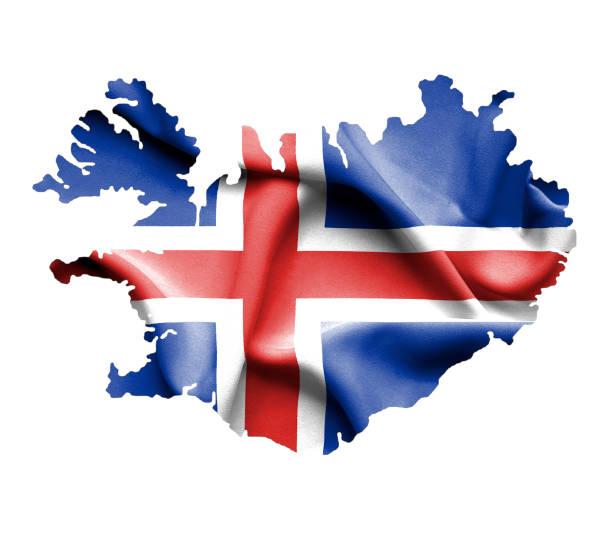 Mapa da Islândia com bandeira isolado no branco - foto de acervo