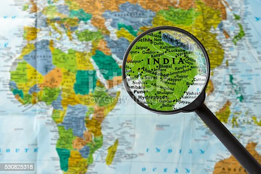 Map of India through magnifying glass