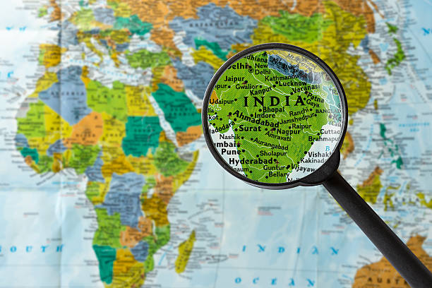 Map of India Map of India through magnifying glass india stock pictures, royalty-free photos & images