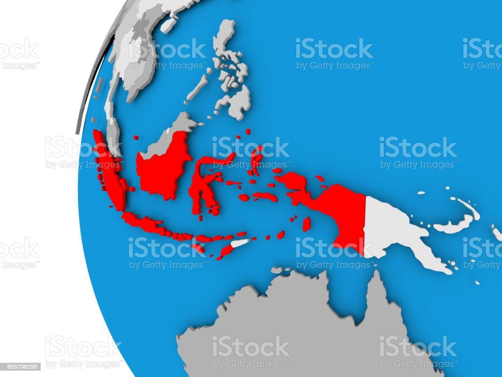 Karte von Indonesien auf politische Welt – Foto