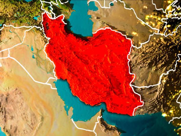 Mapa de Irán en la tierra - foto de stock