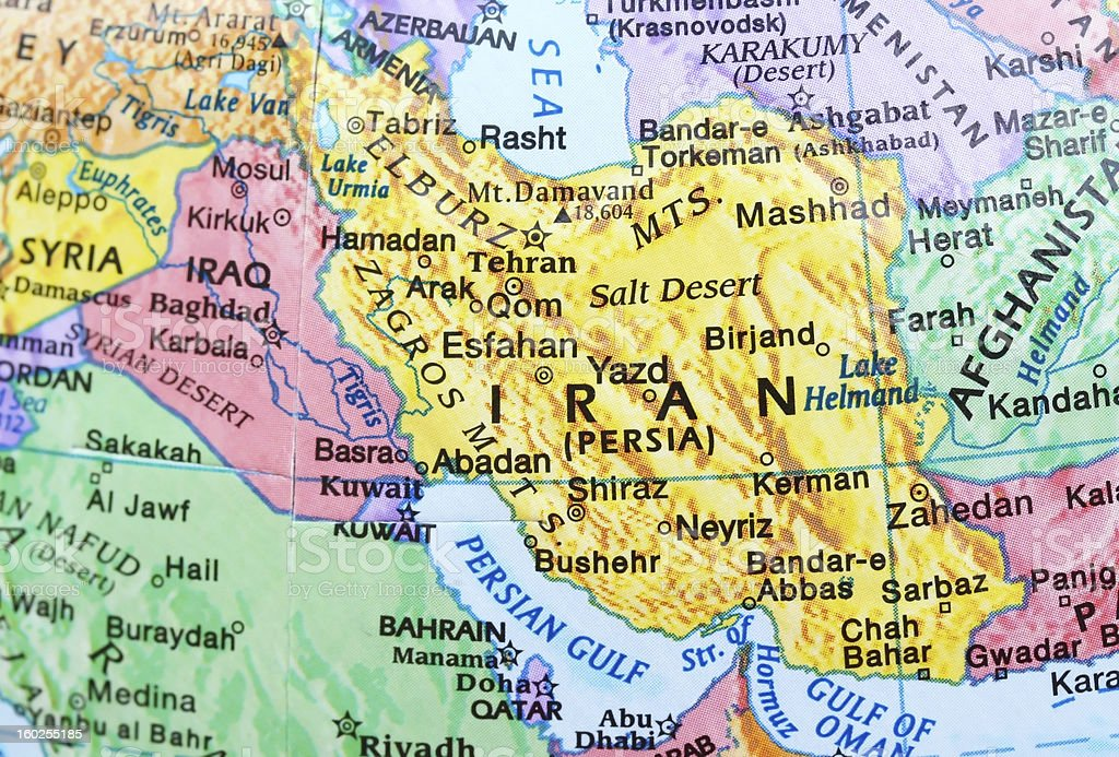 Map of Iran stock photo