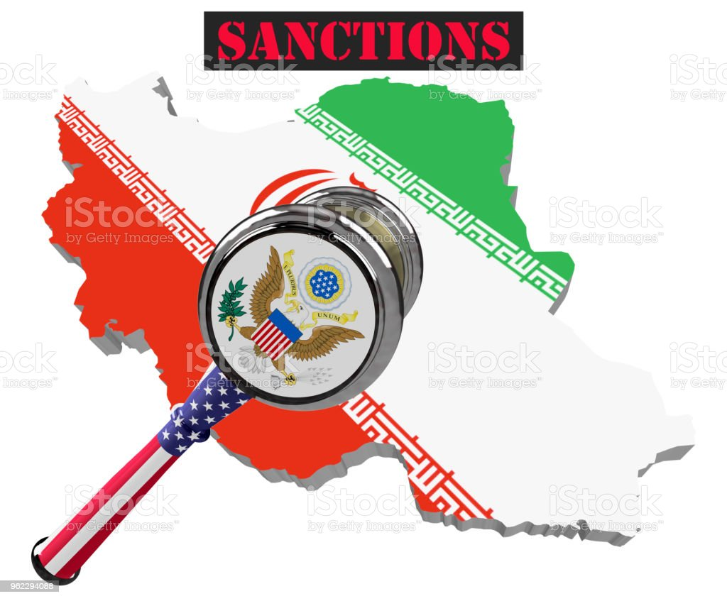 Map of Iran. United States sanctions against to Russia. Judge hammer United States of America, flag and emblem. 3d illustration. Isolated on white background. stock photo