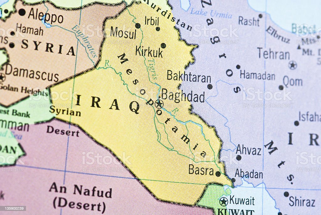 map of iraq and neighboring countries royalty free stock photo