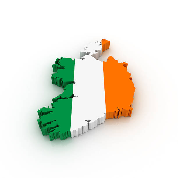 Map of Ireland with flag over country stock photo