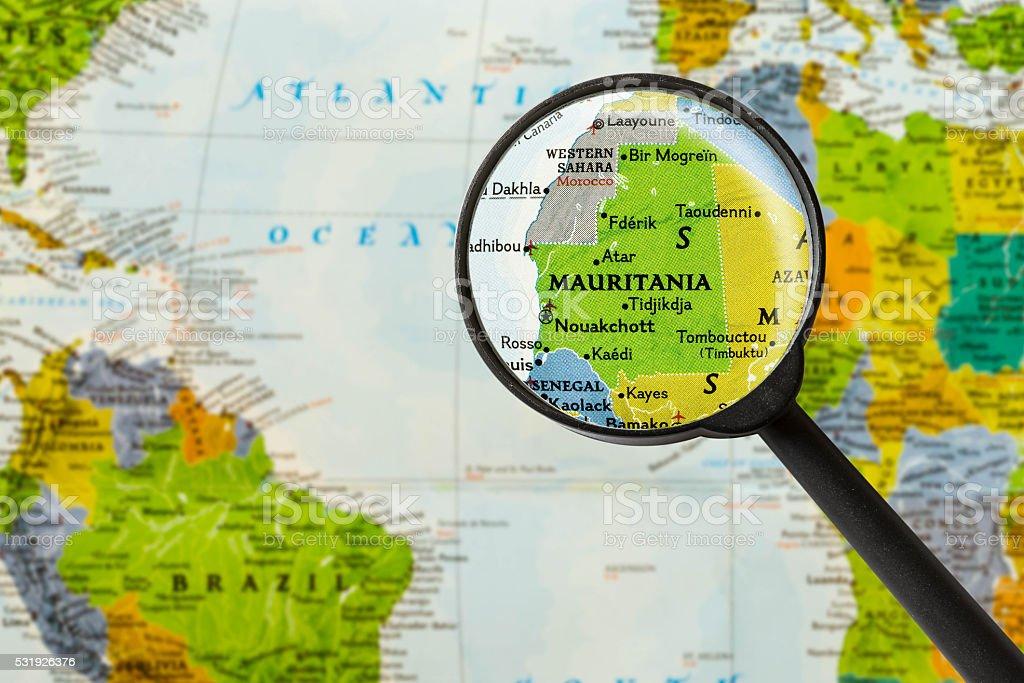 Map of Islamic Republic of Mauritania stock photo