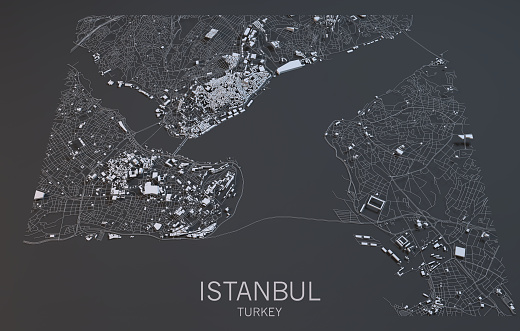 Map of Istanbul, satellite view, city, Turkey
