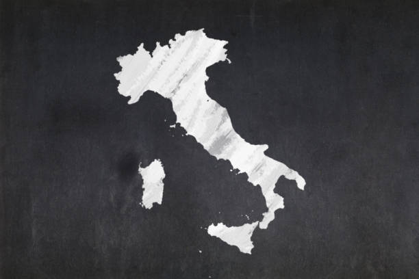 Map of Italy drawn on a blackboard stock photo