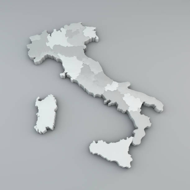 map of italy in 3d, division in regions and autonomous provinces - cartina italia foto e immagini stock