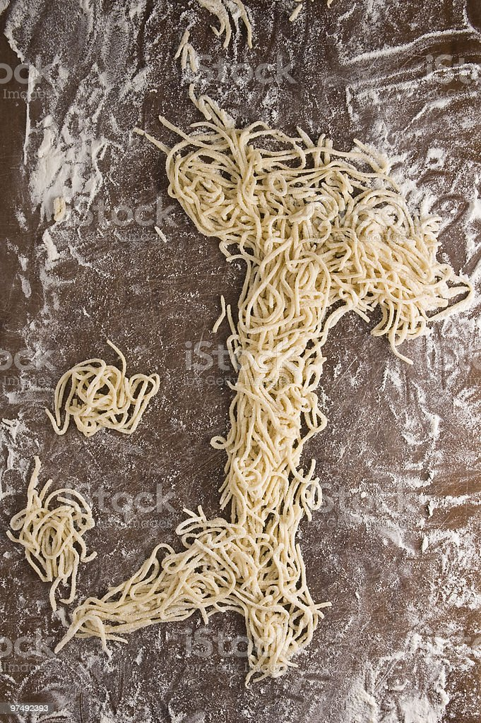 Map of Italy made with homemade uncooked fresh pasta royalty-free stock photo