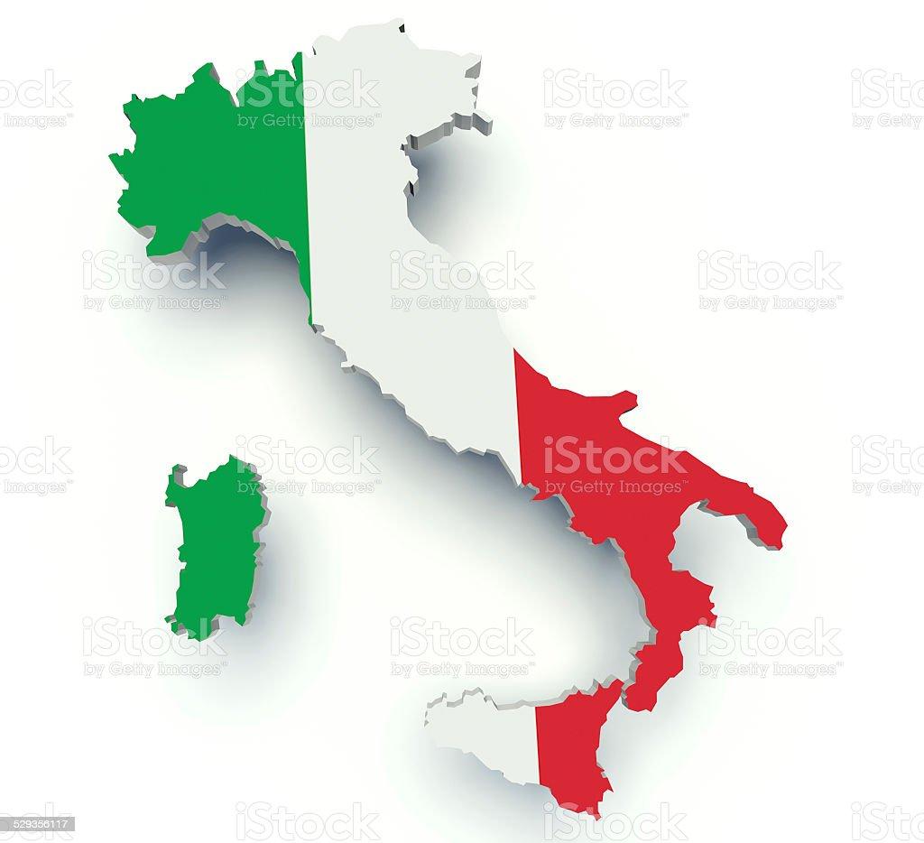 fa71b12c0d044 Foto de Mapa Da Itália Com Cores Da Bandeira 3 D Render Ilustração e ...