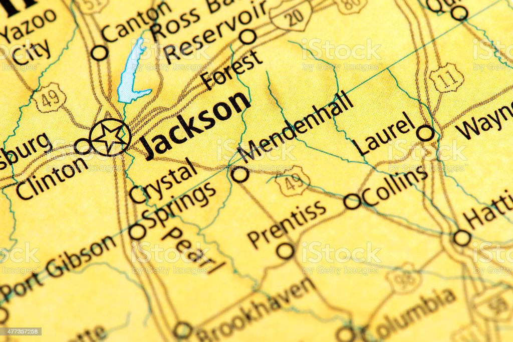 Map of Jackson, Mississippi State in US stock photo