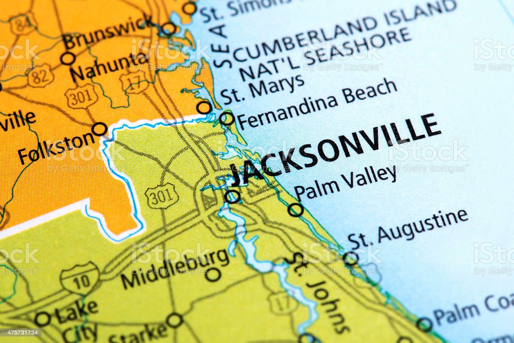Map of Jacksonville in Florida State, USA stock photo
