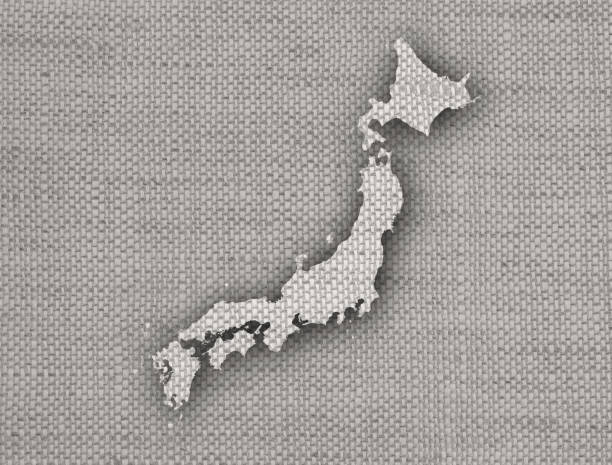 古いリネンに日本地図 - 日本 地図 ストックフォトと画像