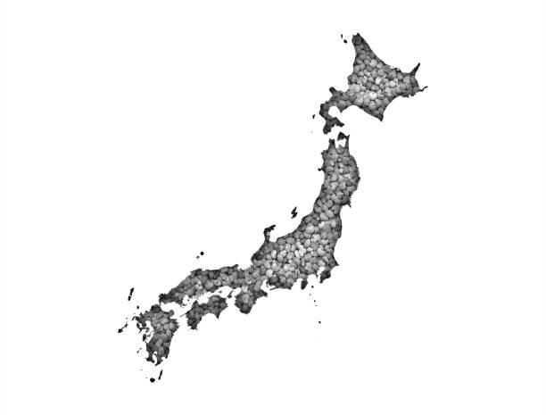 ケシの実に日本地図 - 日本 地図 ストックフォトと画像