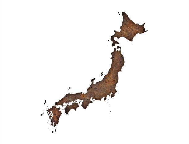 錆びた金属に日本地図 - 日本 地図 ストックフォトと画像