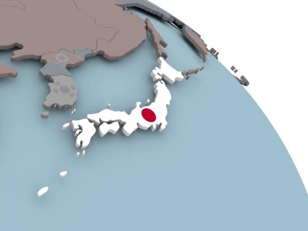 マップで日本の国旗 - 日本 地図 ストックフォトと画像