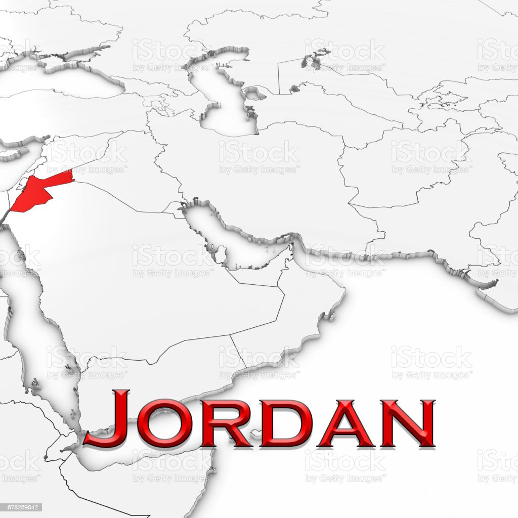 3d map of jordan with country name highlighted red on white 3d map of jordan with country name highlighted red on white background 3d illustration royalty gumiabroncs Images