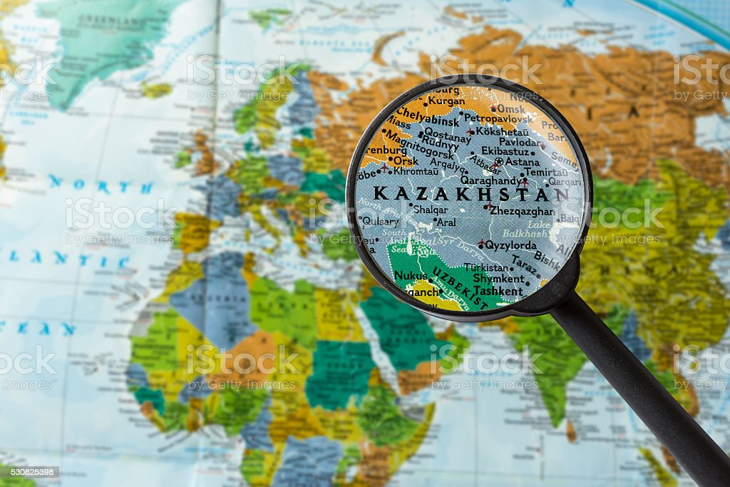 Map of Kazakhstan stock photo
