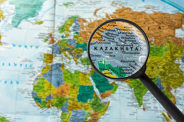 Map of Kazakhstan stock photo
