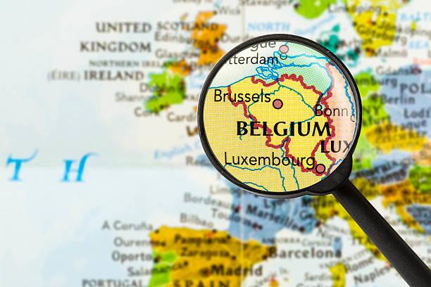karte des königreichs belgien - belgien stock-fotos und bilder