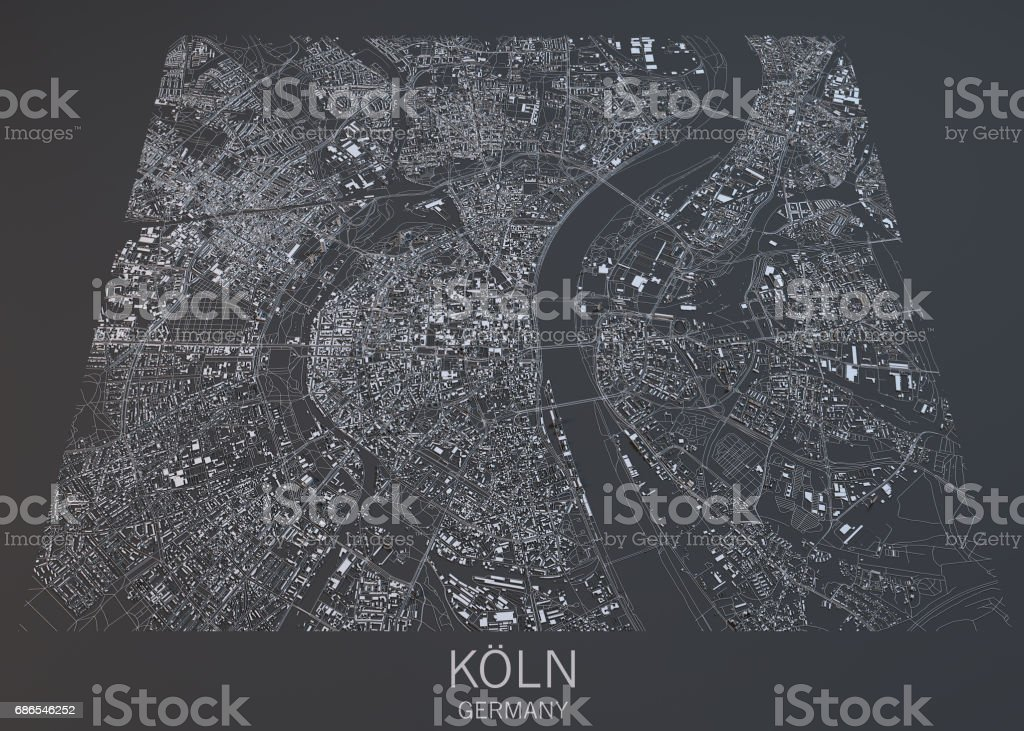 Map Of Koln Cologne Satellite View City Germany stock photo iStock