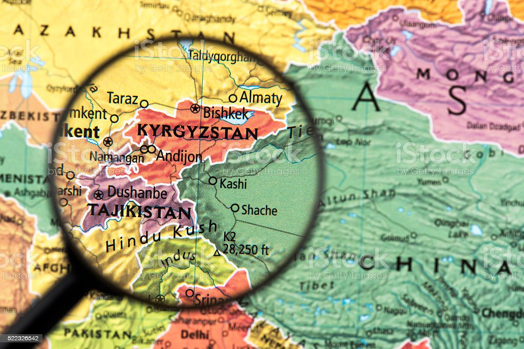 Map Of Kyrgyzstan And Tajikistan Stock Photo More Pictures of Asia