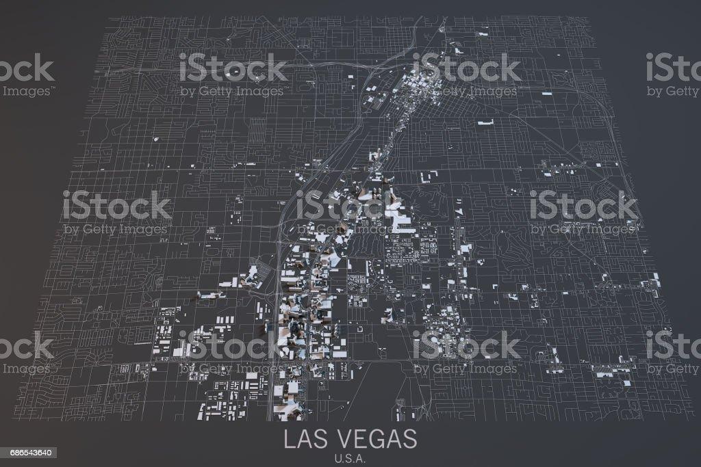 Map of Las Vegas, satellite view, city, Usa. 3d rendering stock photo