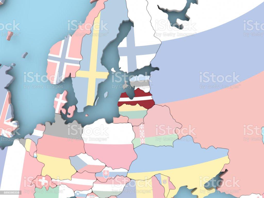 Map of Latvia with flag on globe stock photo