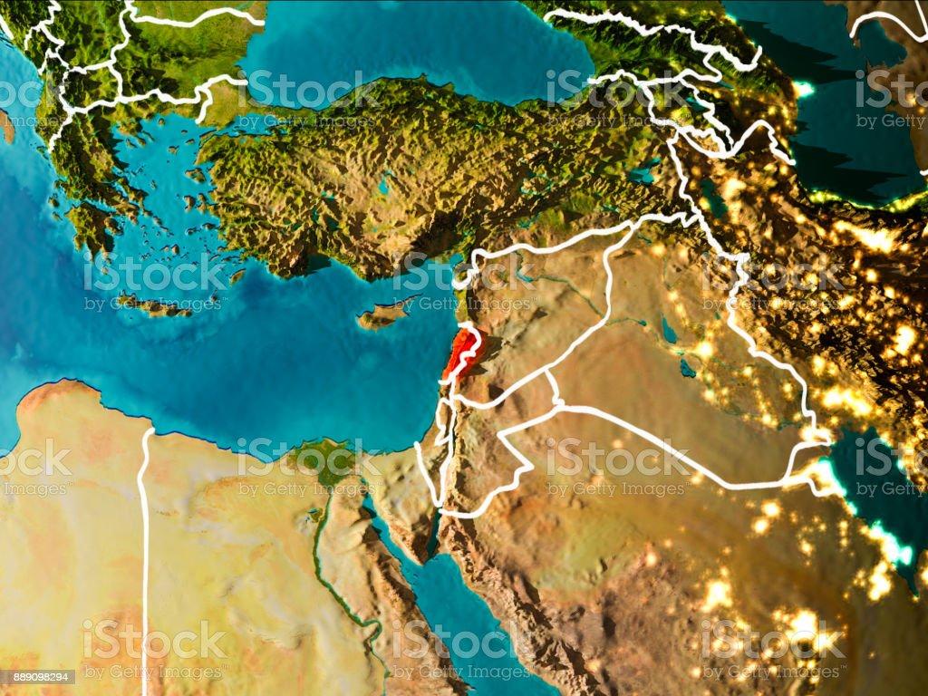 Map of Lebanon on Earth stock photo