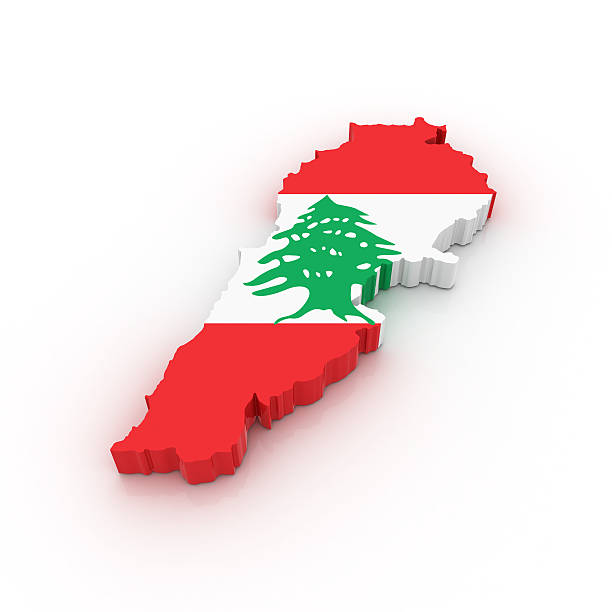 Map of Lebanon stock photo