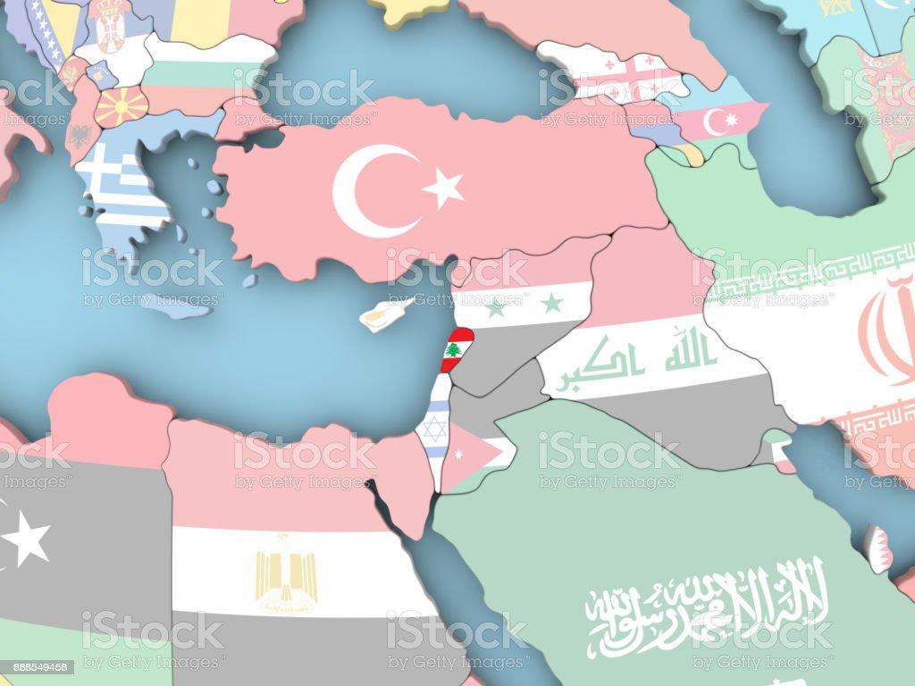Map of Lebanon with flag on globe stock photo
