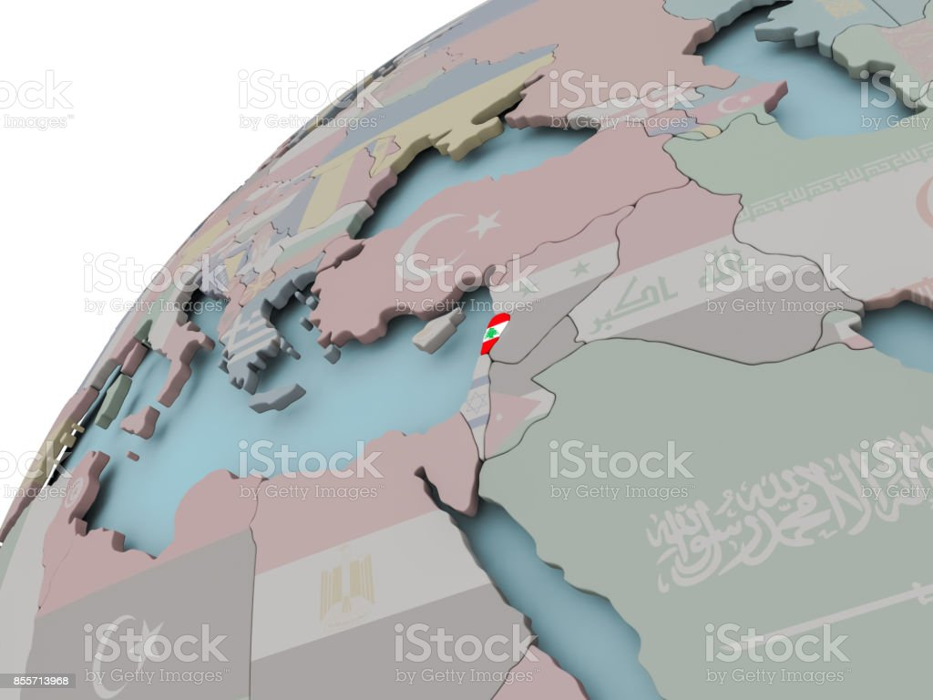 Map of Lebanon with flag stock photo