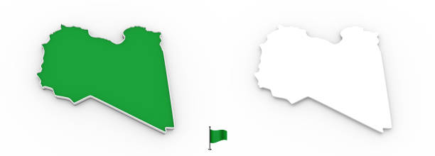3D map of Libya white silhouette and flag stock photo