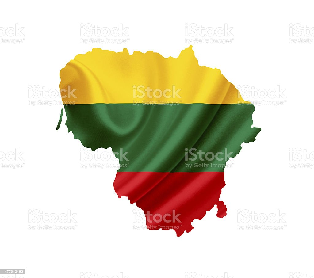 Map of Lithuania with waving flag isolated on white royalty-free stock photo