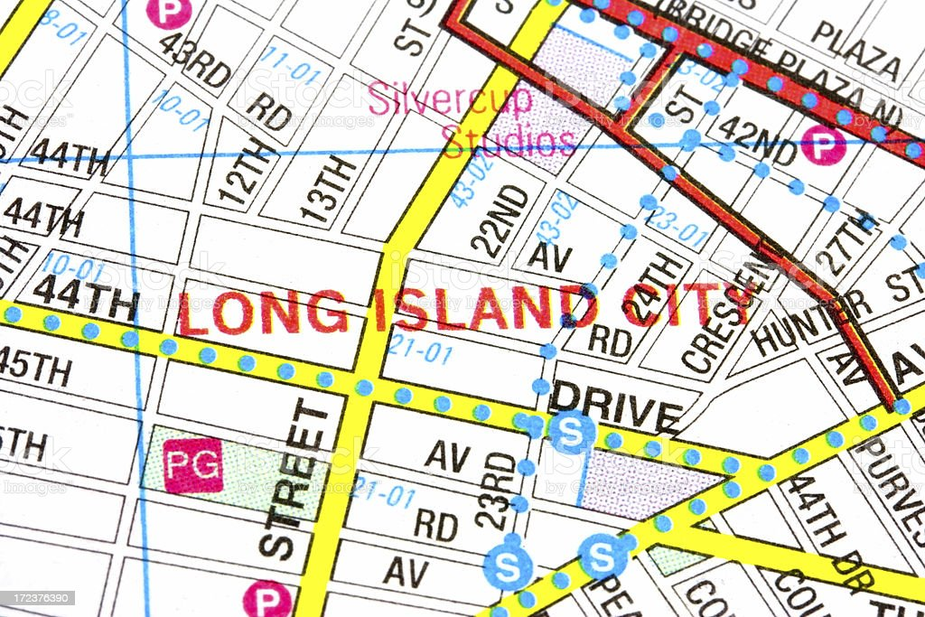 Map of Long Island City stock photo
