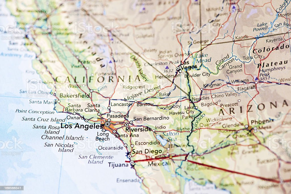 Map of Los Angeles California stock photo