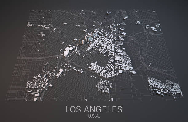 Map Of Los Angeles Satellite View City Usa Stock Photo ... Satellite Maps Of Usa Black And White on black and white portraits of women, latitude and longitude of usa, black and white map of asia,