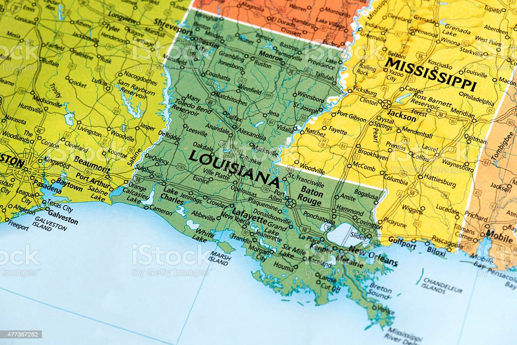 Map of Louisiana State in US stock photo