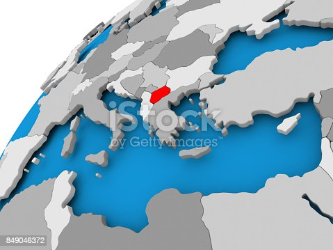 istock Map of Macedonia in red 849046372
