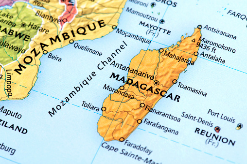 Map of Madagascar. Detail from the World Map.