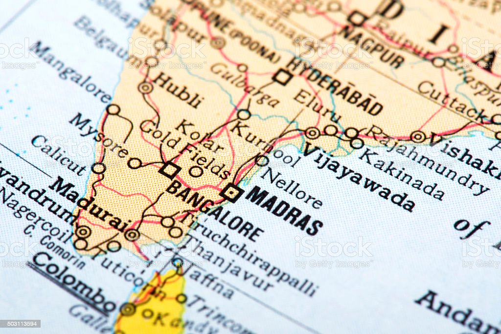 Map of Madras in India stock photo