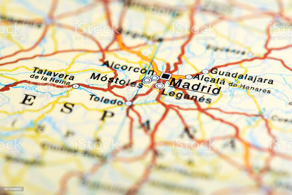 Map Of Madrid Spain Stock Photo & More Pictures of Capital Cities ...