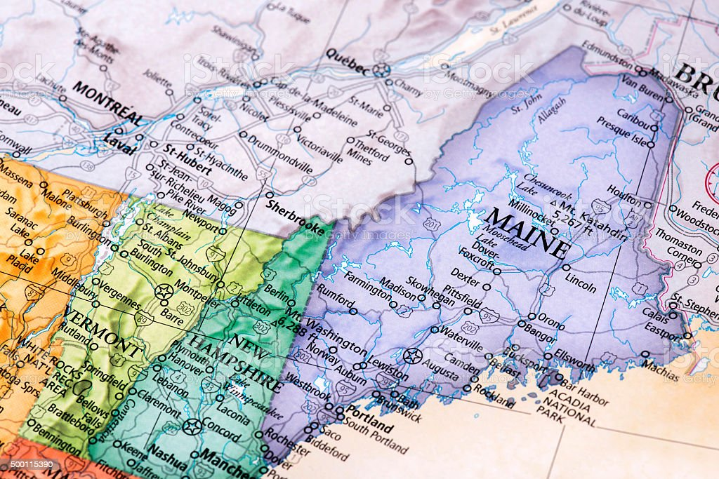 Map of Maine, New Hampshire, Vermont States stock photo