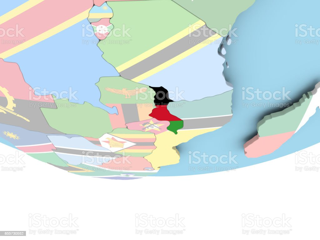 Map of Malawi with flag on globe stock photo