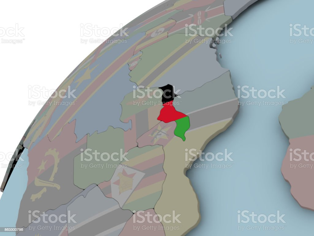 Map of Malawi with flag stock photo